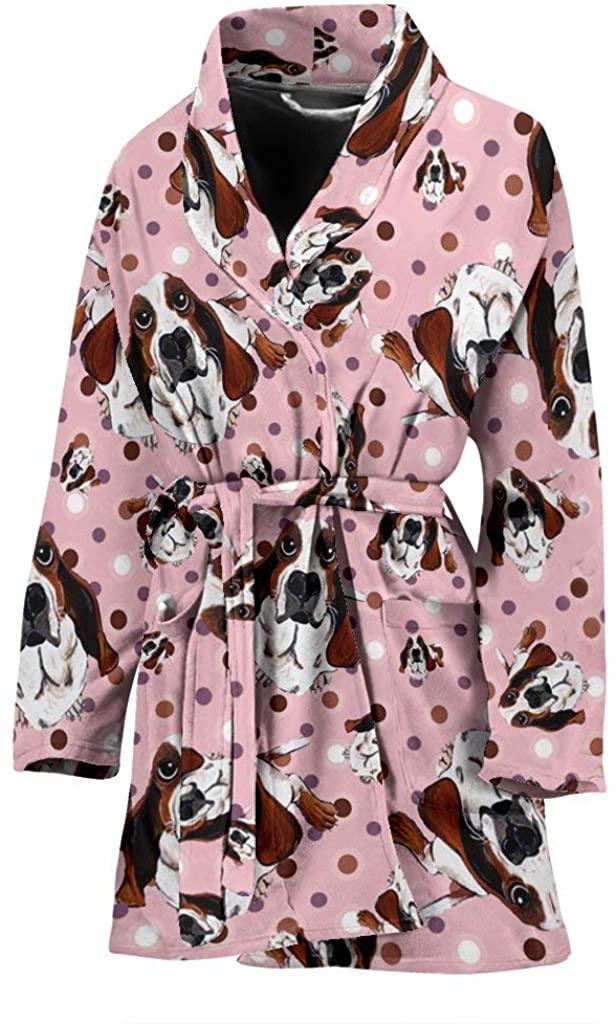 Basset Hound Dog in Lots Print Women's Bath Robe