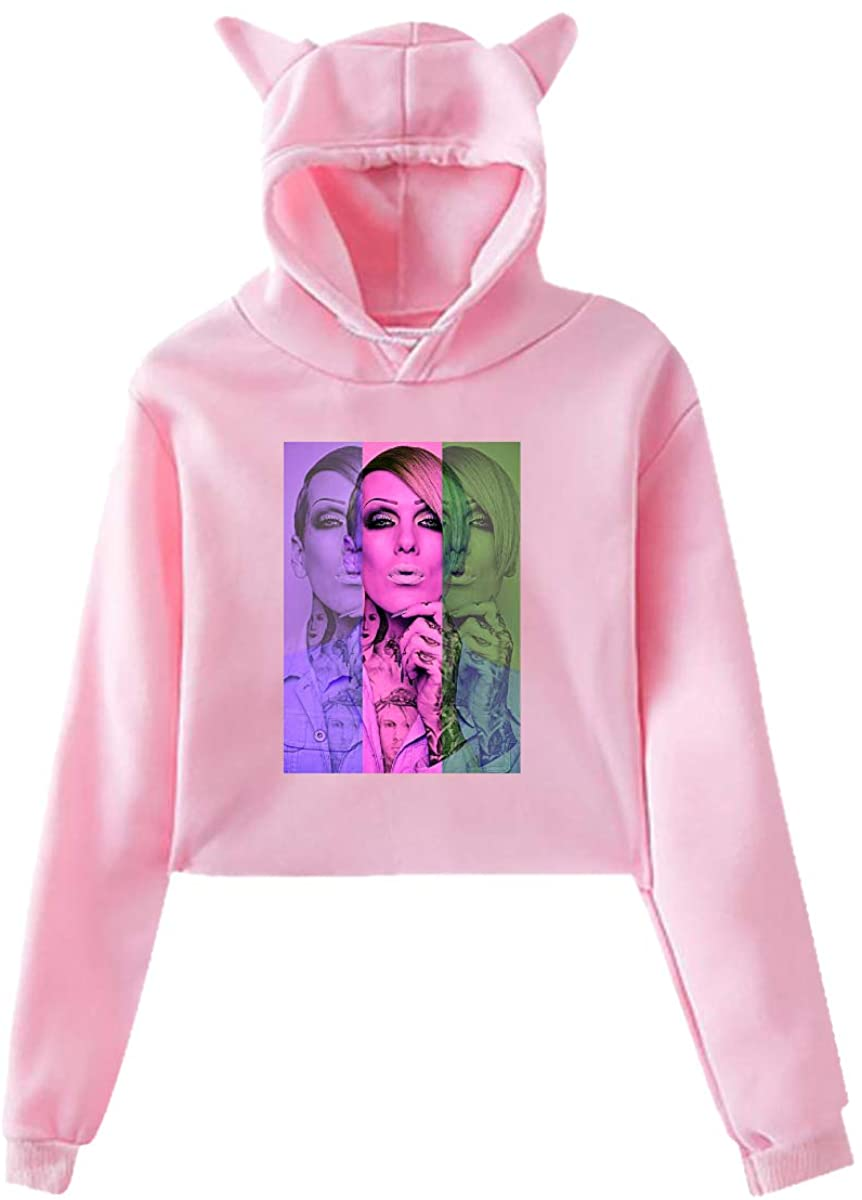 Cat Ear Hoodie Sweater for Womens Jeffree Star Sexy Revealed Navel Pullover Tops Blouse