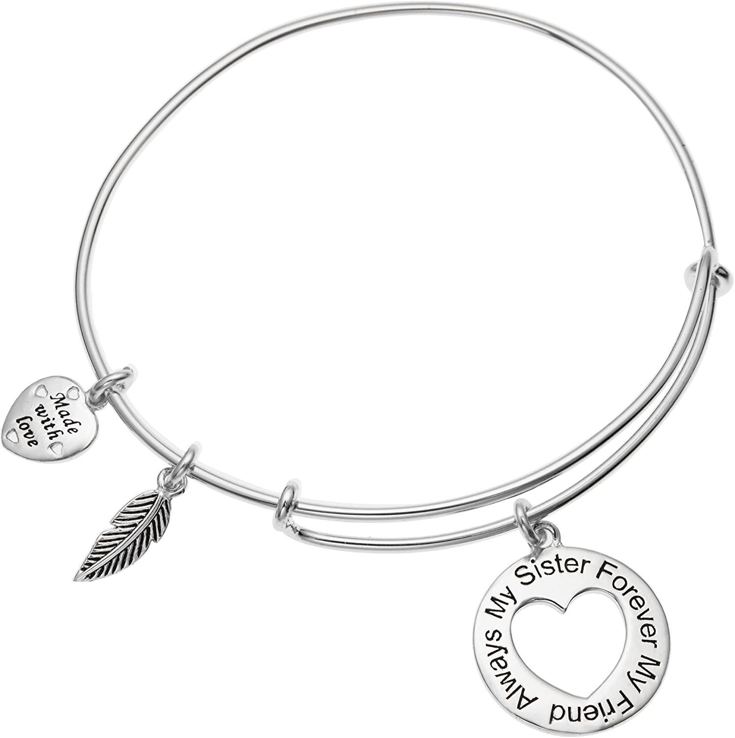 Qina C 925 Sterling Silver Always My Sister Forever My Friend Heart Charm Adjustable Wire Bangle