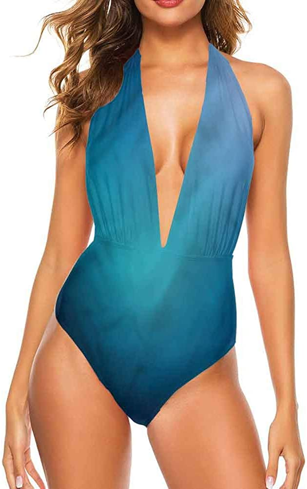 One Piece Swimsuit Navy Blue, Curved and Swirled Lines Unique, and Comfortable