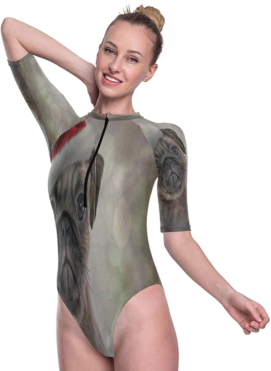 SLHFPX Women's One Piece Short Sleeve Rashguard Swimsuit Christmas Pug Surf Swimwear