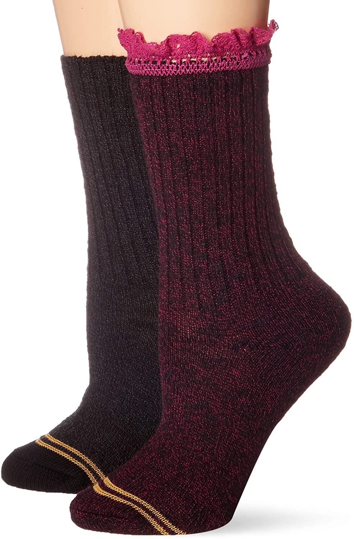 Women's Gold Toe Socks Lace MEDIUM (2 pair - Black/Grey, Purple Lace/Black) Cotton/Spandex w/ EZ Match Cuff Socks Girls Boot Sock