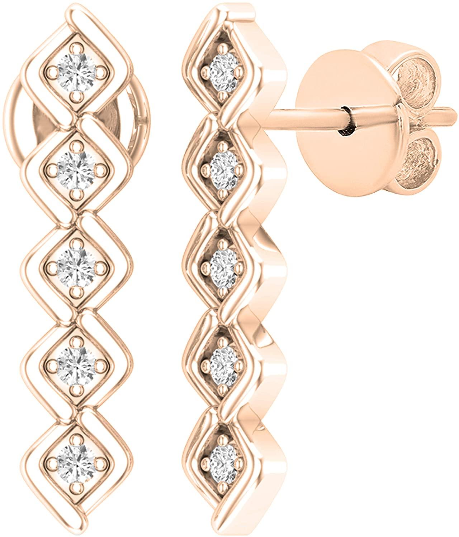 Dazzlingrock Collection 0.10 Carat (ctw) Round White Diamond Ladies Bezel Set Journey Earrings 1/10 CT