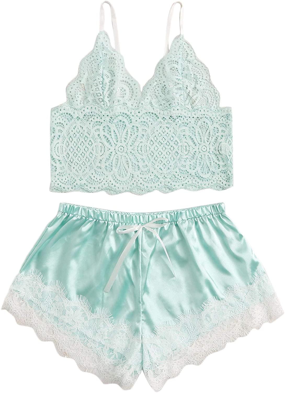 SOLY HUX Women's Eyelash Lace Cami Top with Satin Shorts Pajama Set Sleepwear