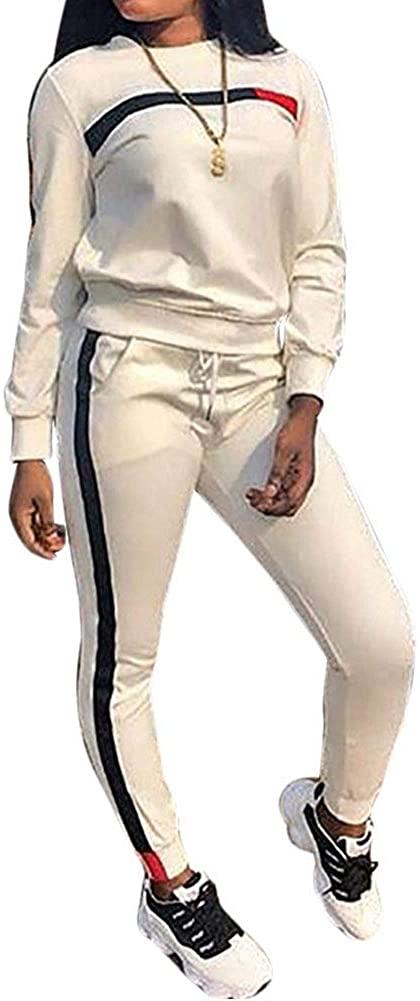 TOP-MAX Women's Sweatsuits, Women's 2 PCS Tracksuit Round Neck Long Sleeve Top Stripe Long Pants Jumpsuit Outfits Set for Sport White