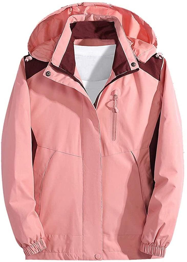 terbklf Women's Raincoats Windbreaker Rain Jacket Waterproof Lightweight Outdoor Hooded Trench Coats with Detachable Hood