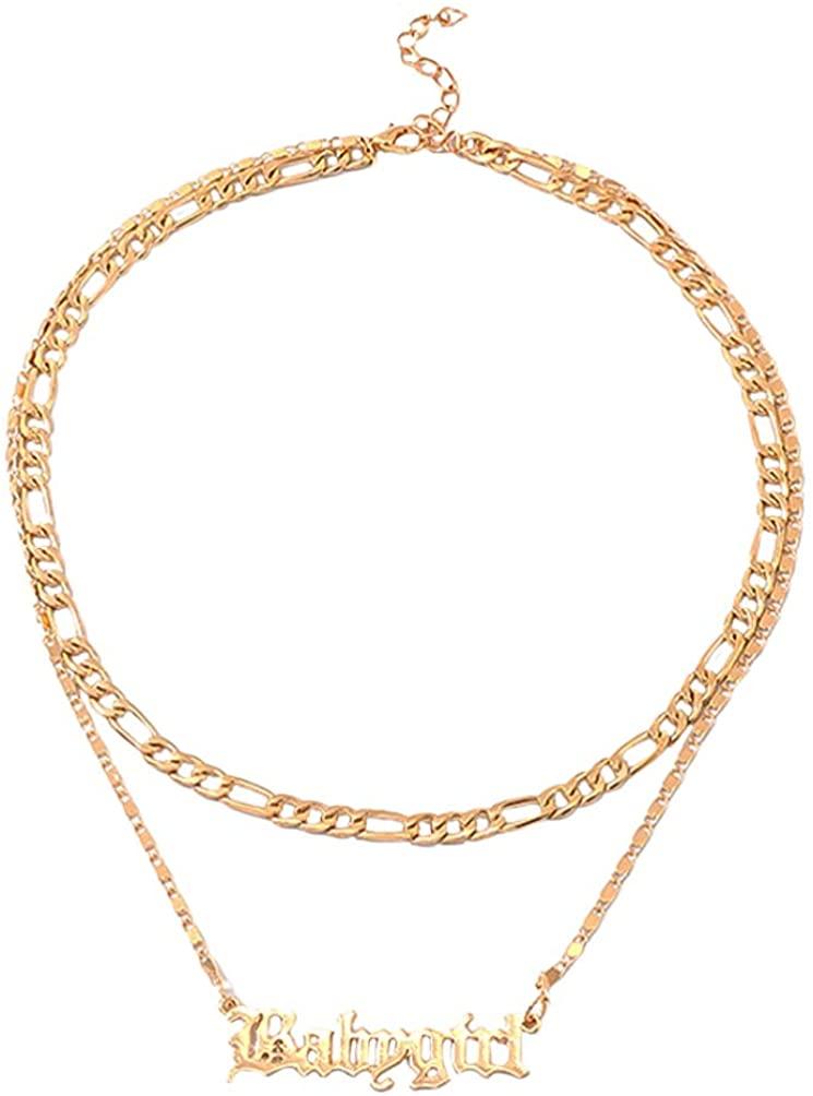 Holibanna Long Choker Necklace Tassel Chain Necklaces Letter Necklace Double Layer Necklace Hanging Pendant Decor for Girl Women
