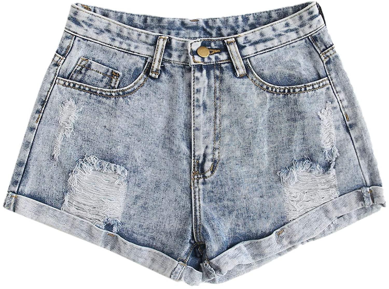 SweatyRocks Womens Retro High Waisted Rolled Denim Jean Shorts with Pockets