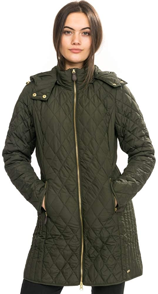 Joules Chatham Longline Padded Jacket with Removable Hood, Everglade, US 4 Dark Green