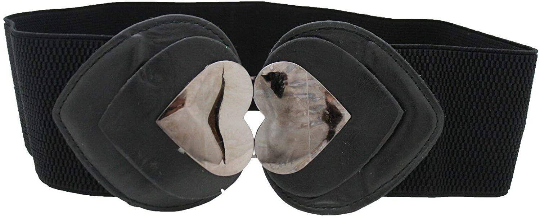 TFJ Women Fashion Elastic Band Belt Hip High Waist Pewter Heart Metal Buckle S M Black
