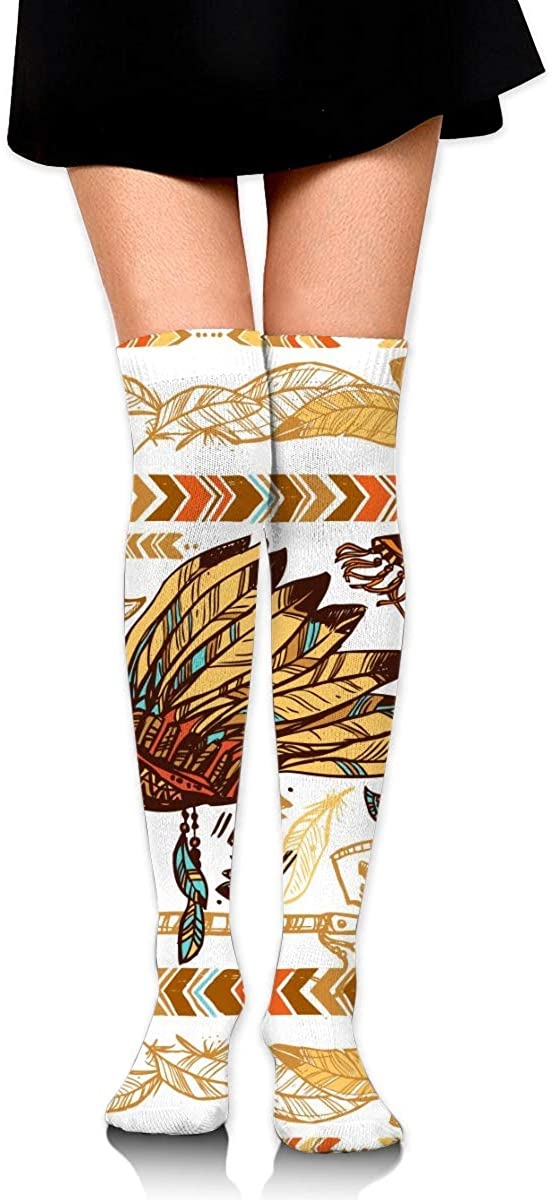 Dress Socks Aztec Tribal Feather Ethnic High Knee Hose Soccer Hold-Up Stockings