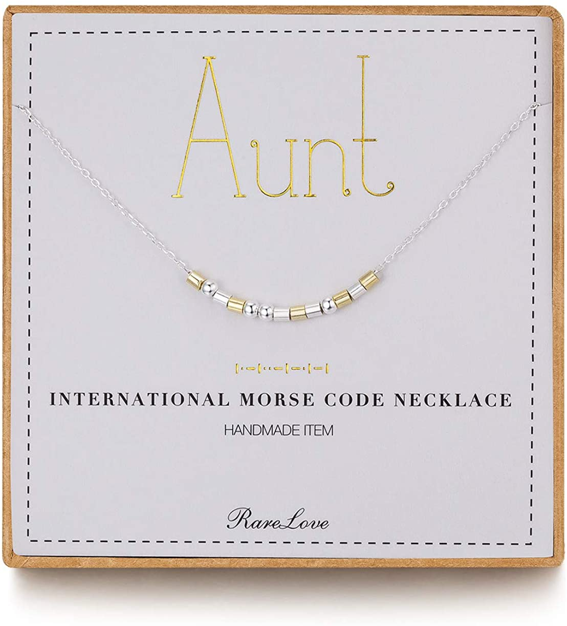 RareLove Aunt Morse Code Necklace Best Aunt Gifts from Niece Mothers Day 925 Sterling Silver Chain Two Tone Bead Women Christmas Birthday Gift