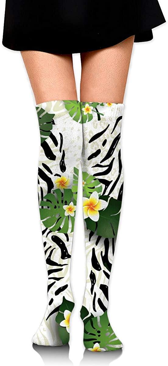 Dress Socks Tropical Monstera Palm Leaves Zebra High Knee Hose Hold-Up Stockings