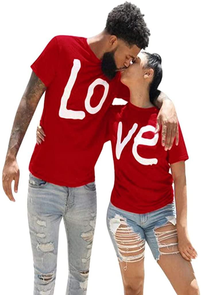 Hotkey Tops for Women 2020 Couples Lover Short Sleeve O-Neck Love Letter Print T Shirts Tops Blouses