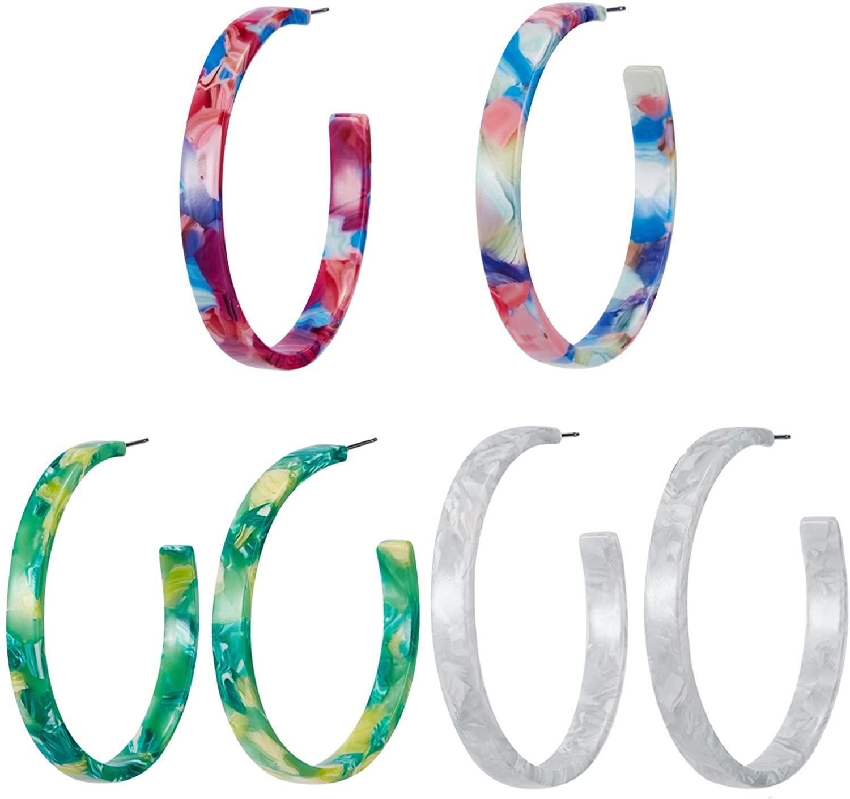 3 Pairs Acrylic Hoop Earrings Fashion Resin Mottled Bohemian Earrings Statement Earring For Women Girls