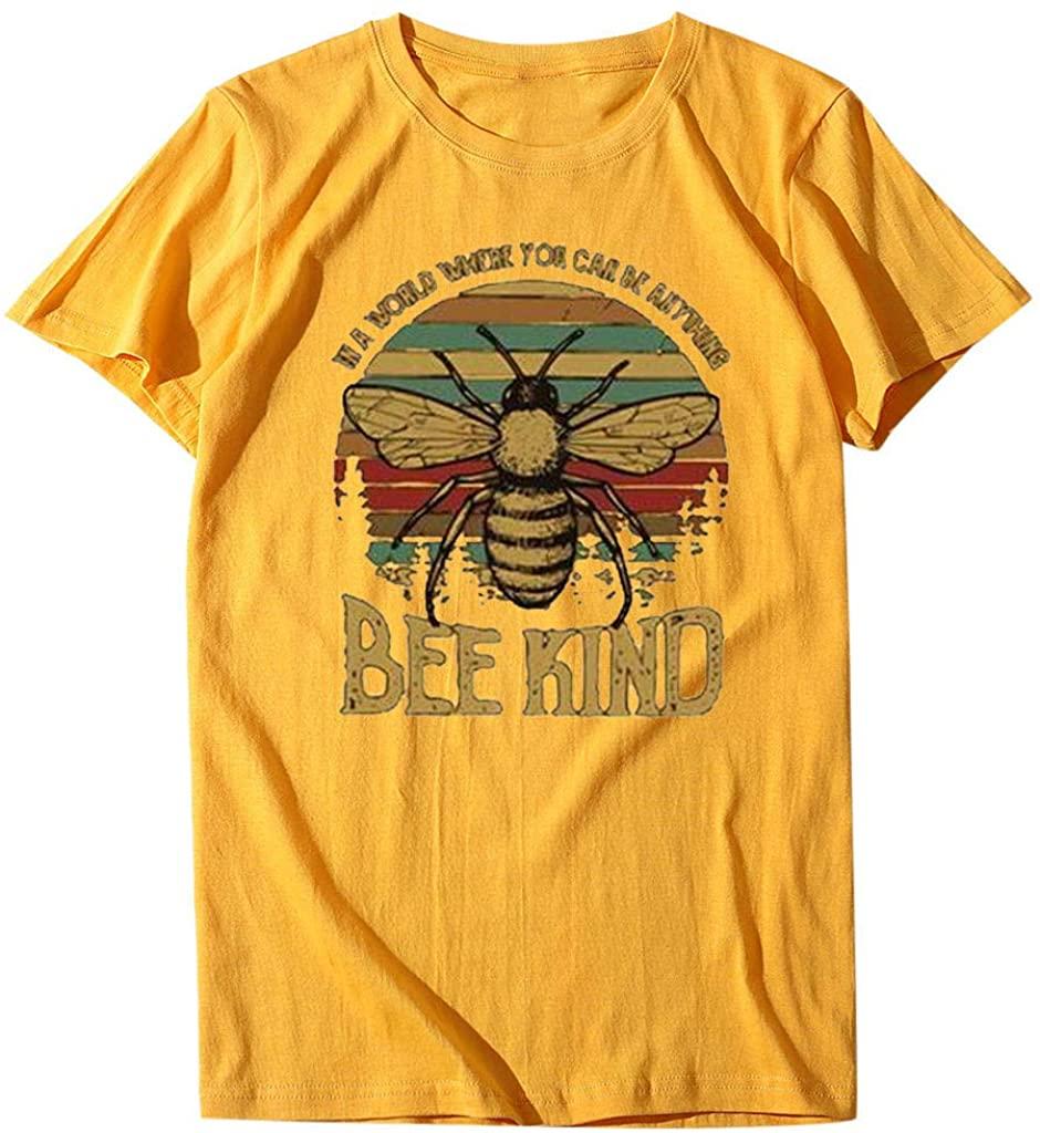 SHOBBW Women's Summer Casual Fashion Cotton Round Neck Bee Print T-Shirts Short Sleeve Plus Size Blouse