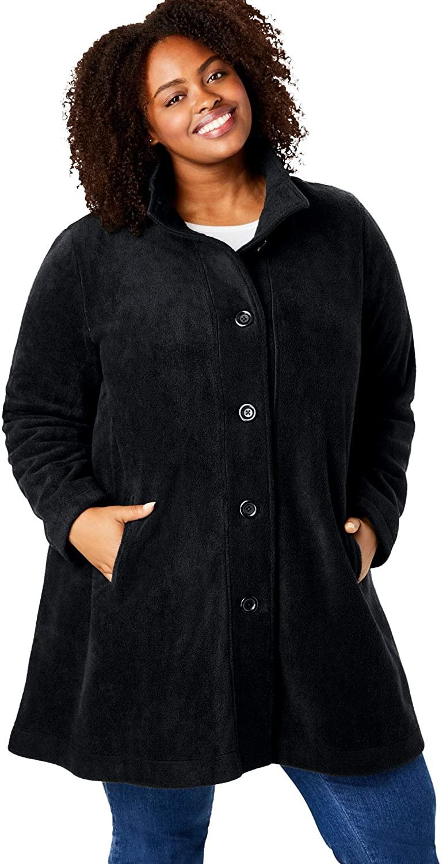 Woman Within Women's Plus Size Fleece Swing Funnel-Neck Coat