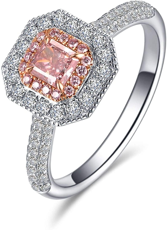Aokarry Women's 18K White Gold Promise Wedding Ring Geometry Luxury Pink Diamond