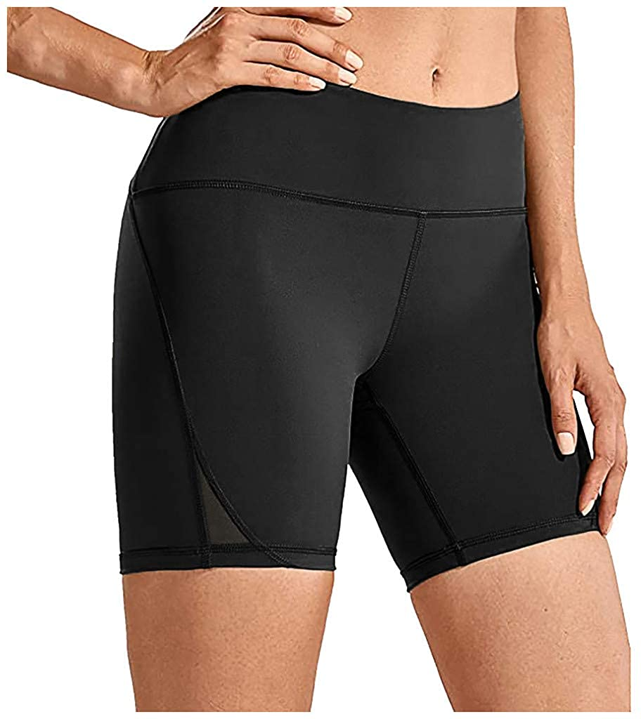 SSDXY High Waist Yoga Shorts for Women Tummy Control Athletic Workout Running Shorts