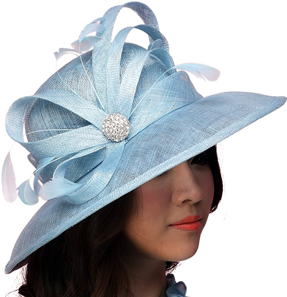 June's Young Women Hat Sinamay Summer Hats Polka Dot Bow Organza