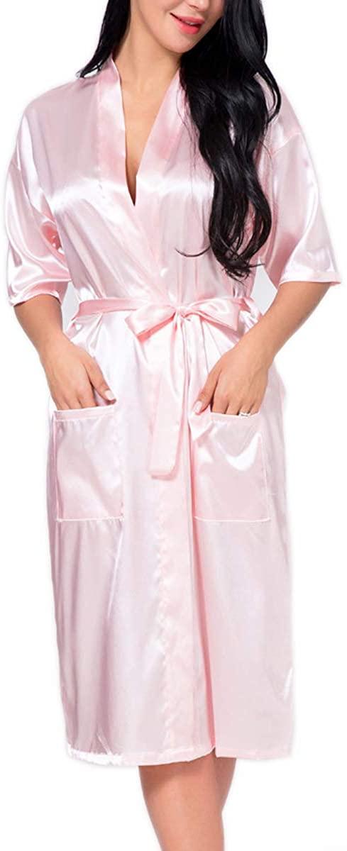 Techson Bridal Robe Long Satin Gown with Gold Silk Kimono for Wedding Party Bath