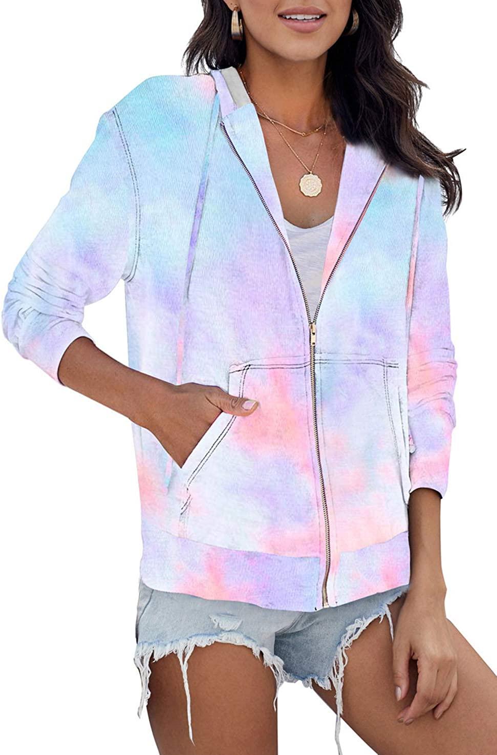 Women's Long Sleeve Tie Dye Hoodie Full Zip Up Cotton Casual Fit Sweatshirt with Pockets