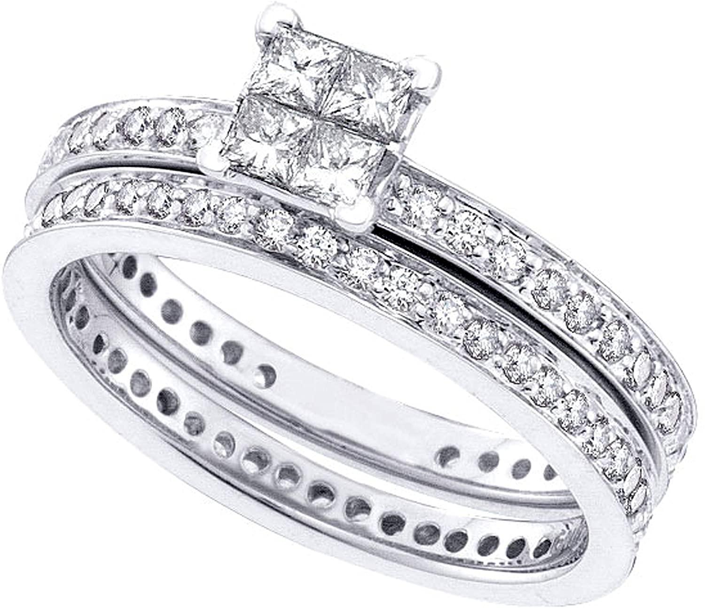 Dazzlingrock Collection 1 Carat (Ctw) Princess Diamond Eternity Bridal Wedding Ring Set 1 Ctw, 14K White Gold