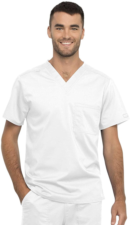 CHEROKEE Workwear WW Revolution Unisex Unisex 1 Pocket V-Neck Top, WW625, 3XL, White