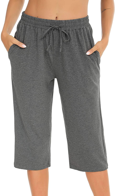 Vlazom 100% Cotton Women's Pajama Bottoms Casual Cropped Trouser Pjs Lounge Capri Pants with Pockets Drawstring