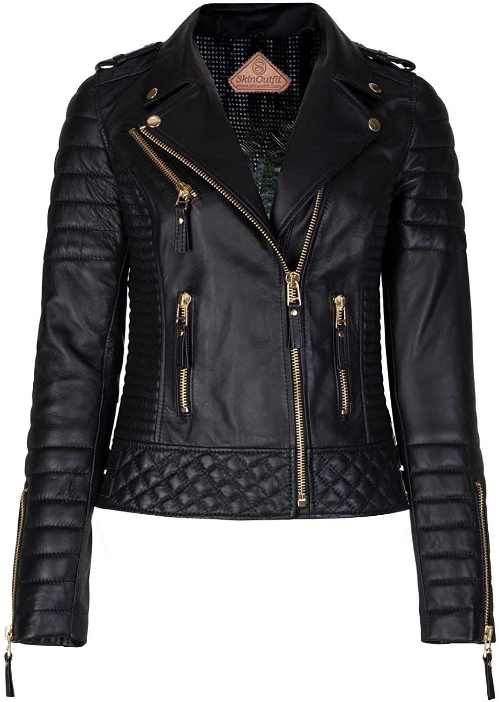 SKINOUTFIT Women's Leather Jacket Motorcycle Biker Genuine Lambskin Leather Jacket for Women Black