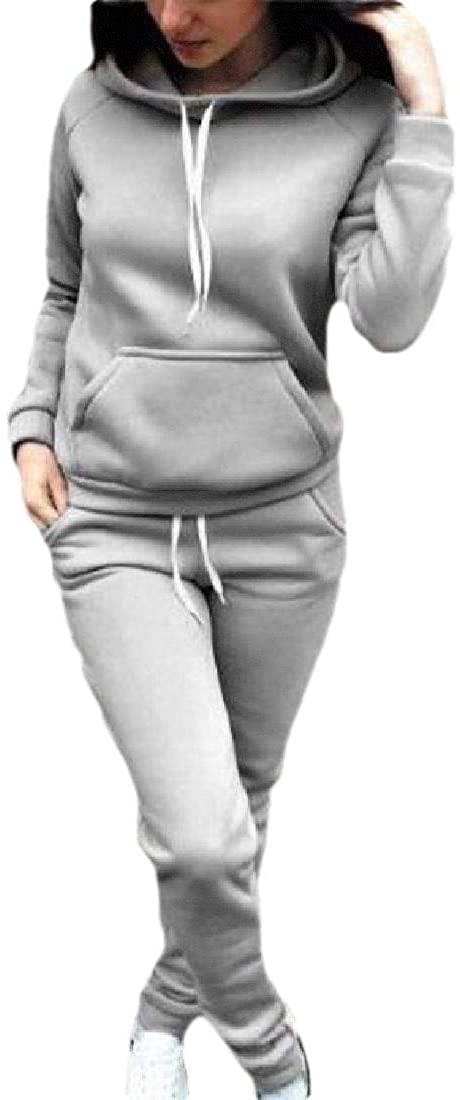 ouxiuli Womens Warm Hoodies Long-Sleeve Sweatshirts Blouse +Long Pant Two-Piece Outfit