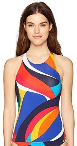 Nautica Womens High-Neck, Wide & Adjustable Cross-Back Strap Tankini Top Swimsuit