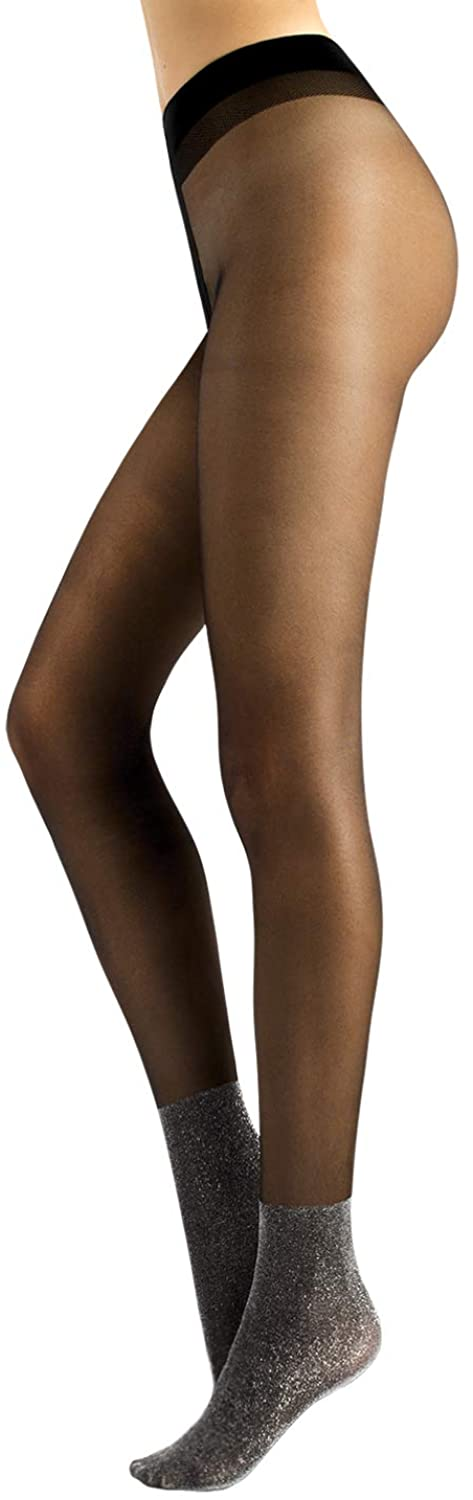 CALZITALY Sheer Tights with Silver Lurex Foot | Black | S/M, L/XL | 20 DEN | Made in Italy