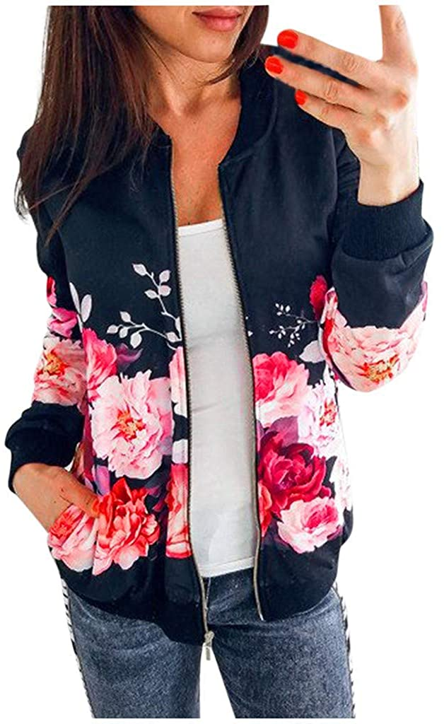 Womens Zipper Jacket Ladies Retro Floral Printing Casual Tops Coat Outwear DongDong