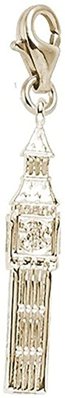10k Yellow Gold Big Ben Charm With Lobster Claw Clasp, Charms for Bracelets and Necklaces