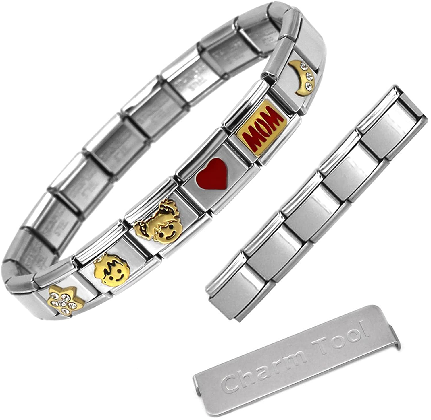Red Heart Love Mom to the Moon and Back Theme Italian Charm Bracelet + Extension Set