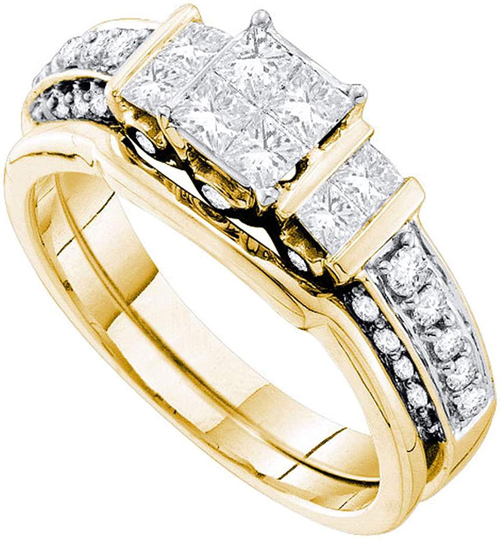 Dazzlingrock Collection 1 Carat (Ctw) Princess Diamond Bridal Wedding Ring Set 1 Ctw, 14K Yellow Gold