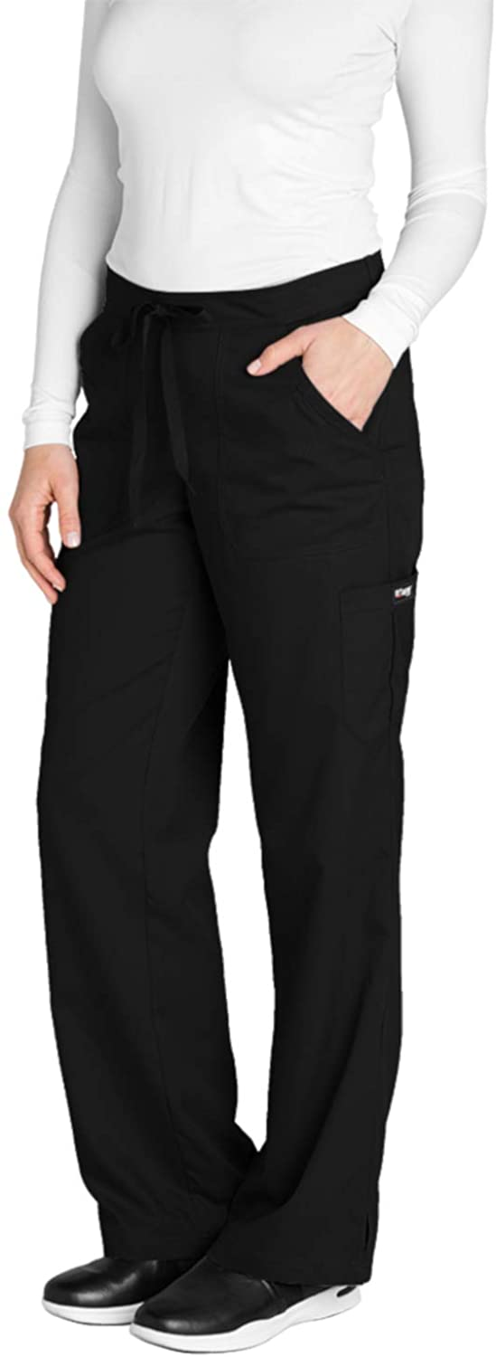 Greys Anatomy Womens 4245 Junior Fit 4-Pocket Elastic Back Scrub Pants, Black, X-Small