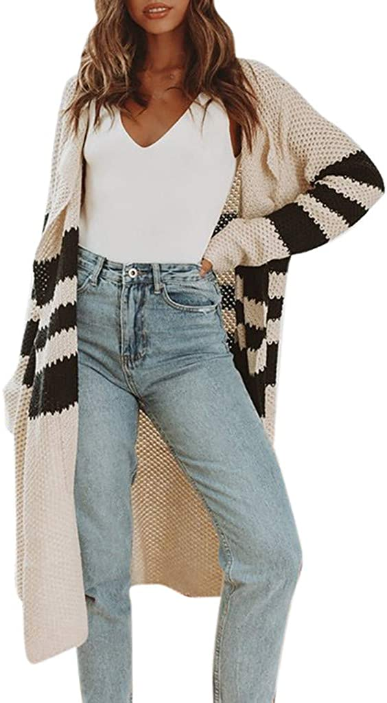 XQXCL Cardigans for Women, Warm Coats Women Stripe Sweater Casual Long Cardigan Party Outfits Autumn Travel Jacket