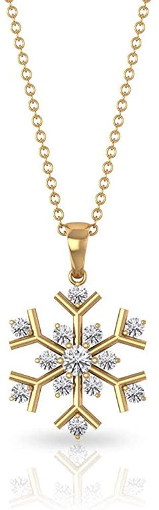 0.44 CT Round SGL Certified Diamond Snowflake Pendant, Solid 14k Gold Engraved Stack Sunburst Charm Necklaces, Vintage Wedding Flower Bridal Necklaces