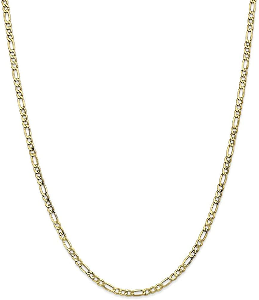 10k 3.5mm Semi solid Figaro Chain Necklace Jewelry Gifts for Women - Length Options: 16 18 20 22 24