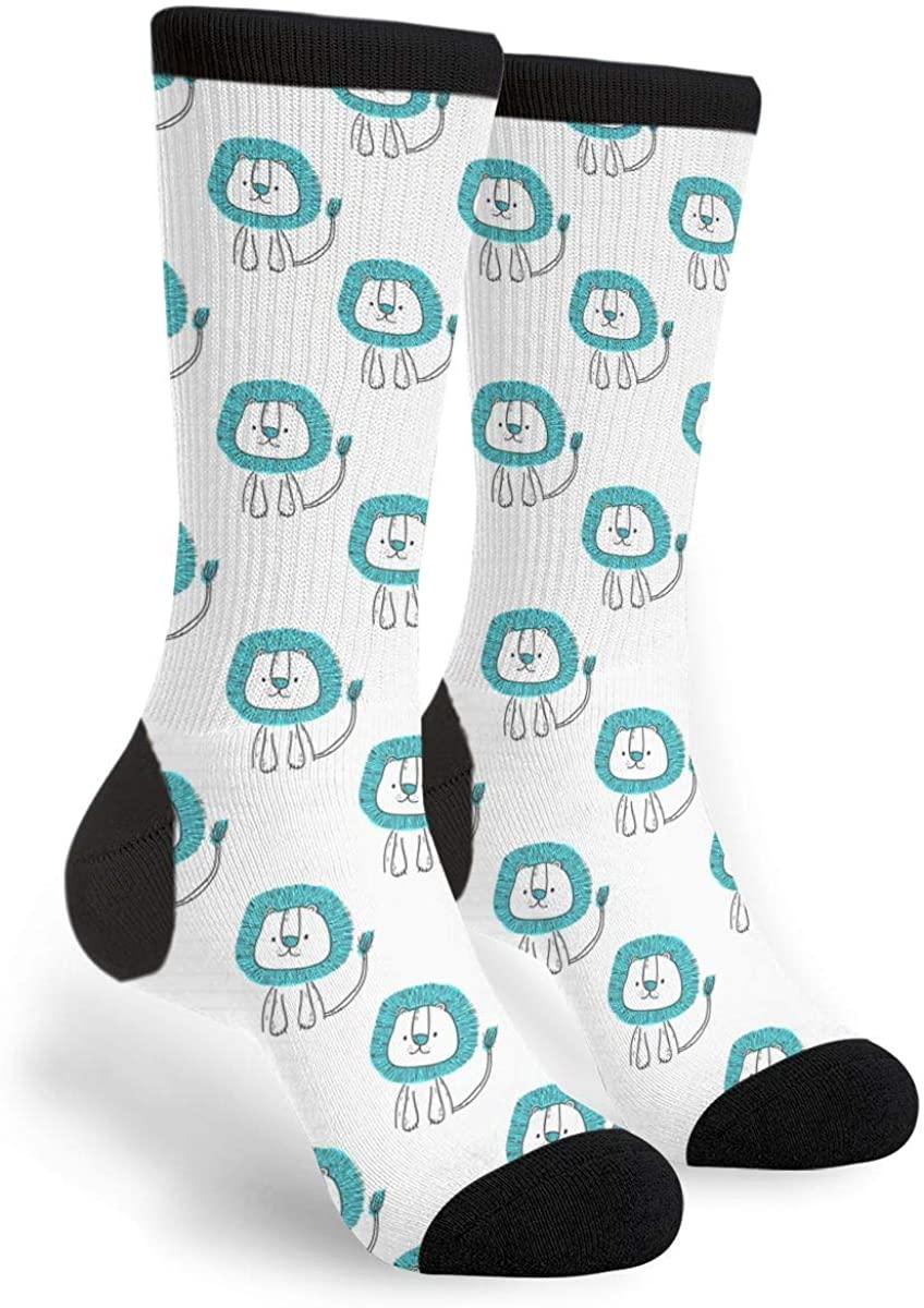 Unisex Casual Cotton Crazy Crew Socks - Cute Cartoon Lion Socks,Christmas Gifts