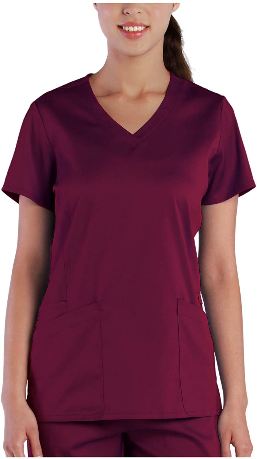 Tru Soft Womens Curved V-Neck Top 20201 (X-Small, Wine)