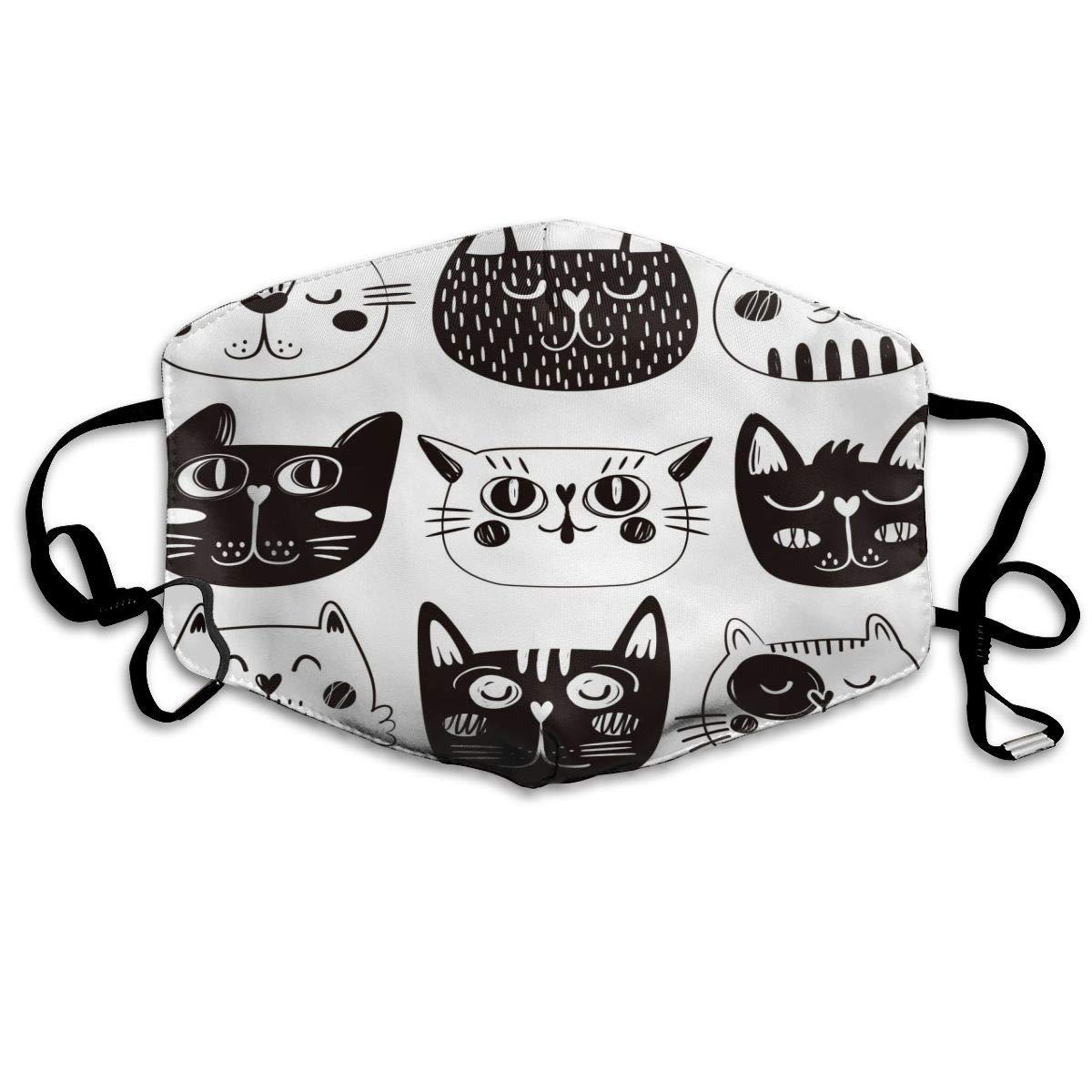 Black And White Cartoon Cat Faces Breathable 3d Tube Seamless Durable Face Bandana