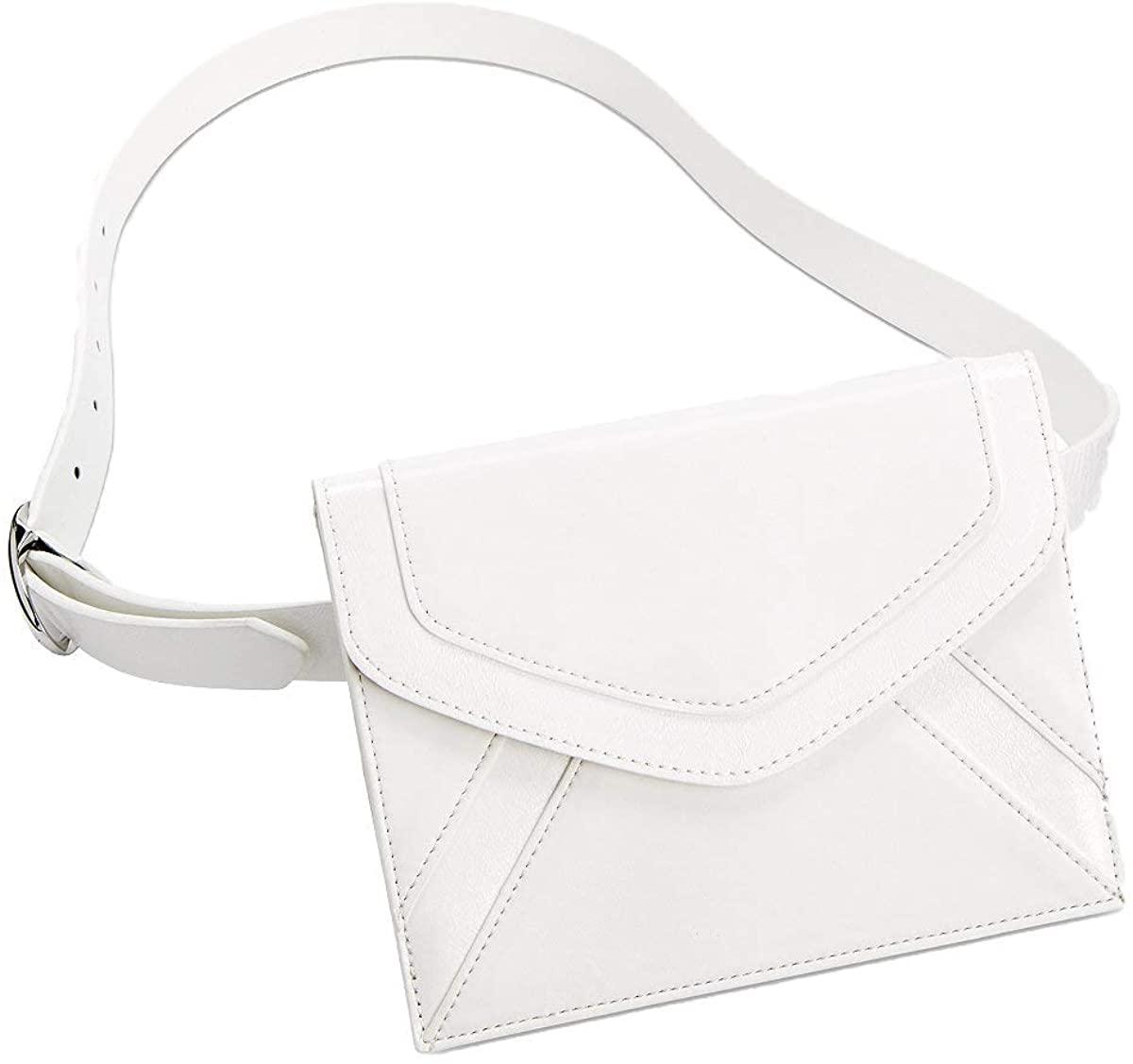 INC International Concepts Womens Metallic-Detail Envelope Belt Bag (White/Silver, Medium)