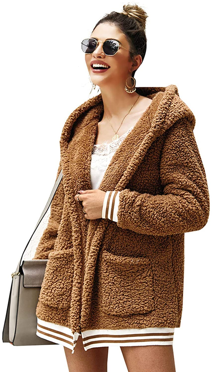 Women's Fuzzy Fleece Hooded Outwear Open Front Long Sleeve Sherpa Jacket Pockets Cardigan Loose Winter Warm Coat