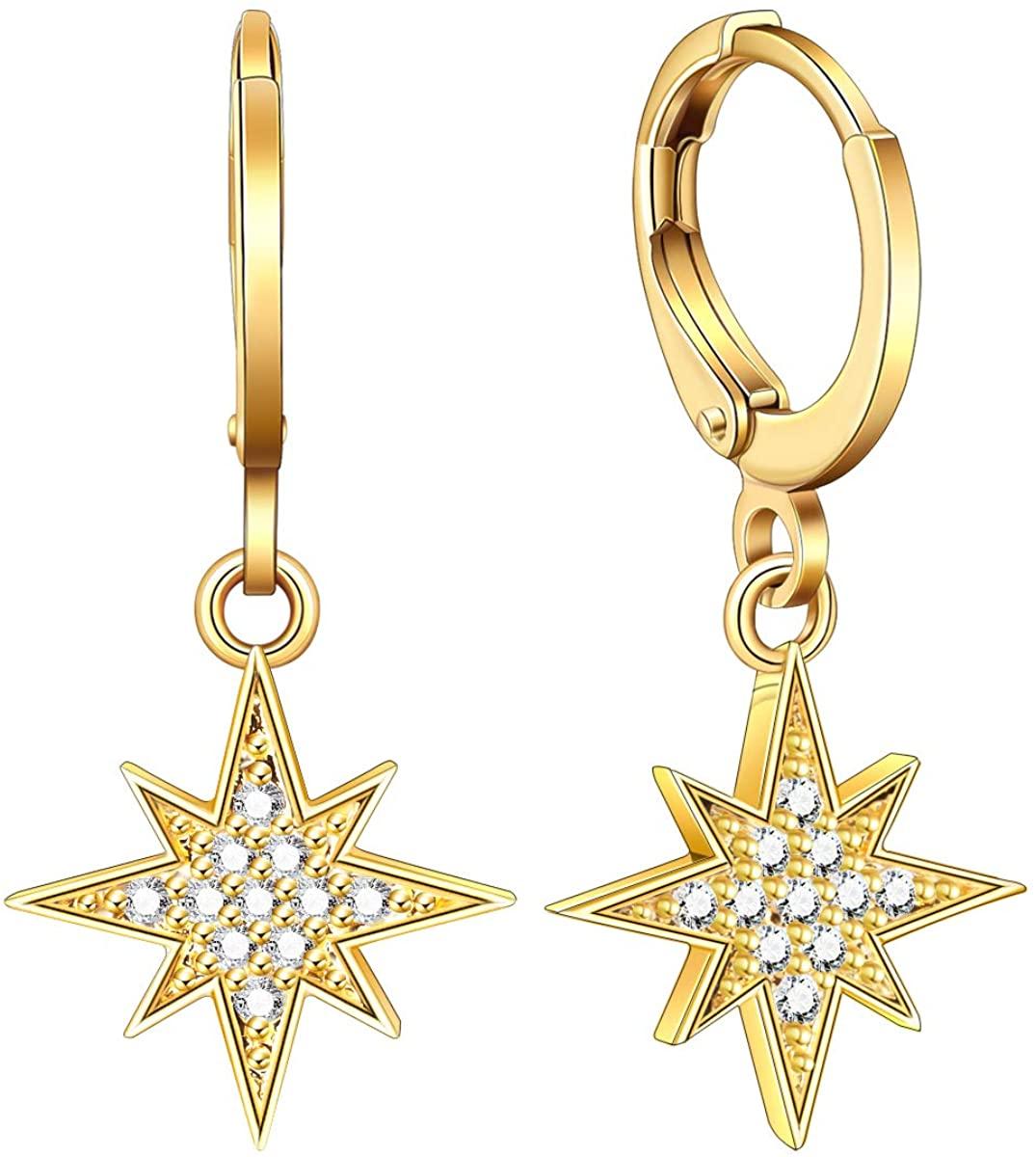 Ldurian Small Hoop Earrings, 14K Gold Plated Huggies, Sparkling CZ Charm Hoops, Dainty Dangle Ear Huggers, Delicate Women Jewelry, For Men Teen Girl (Leverback, Brass)