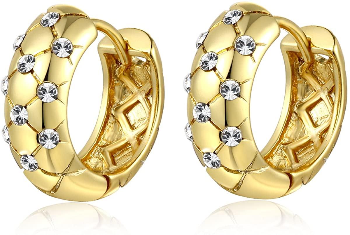 Jonline24h Luxury Girl Ladys Womens Copper 18ct Yellow Gold Plated Jewelry Crystal Wedding Hoop Earrings New