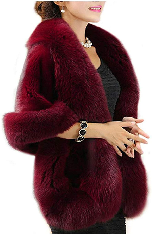 Old Dlrd Women's Winter Faux Fur Coat Wedding Bride Cloak Cape Shawl for Evening Party