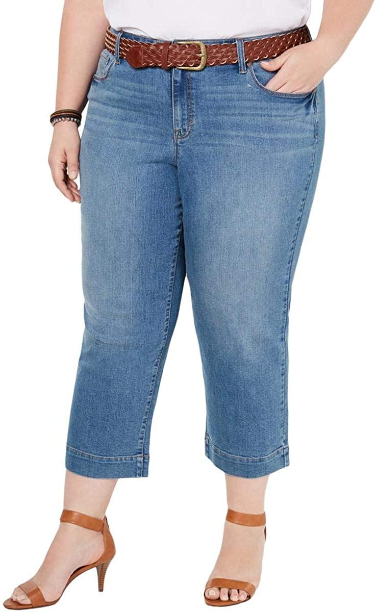 Style & Co. Womens Plus Denim Mid Rise Capri Jeans
